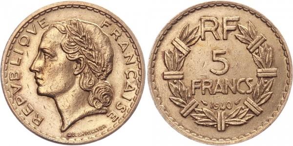 Frankreich 5 Francs 1940 - Kursmünze