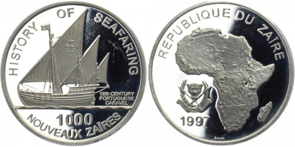 KONGO 1000 Nouveaux Zaires 1997 - Geschichte der Seefahrt