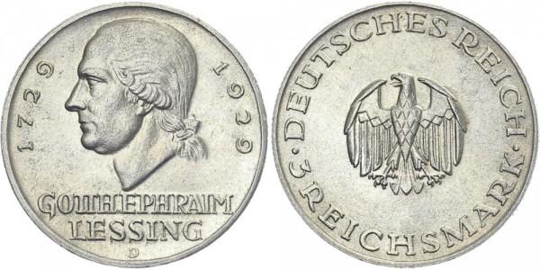 Weimarer Republik 3 Mark 1929 D Lessing