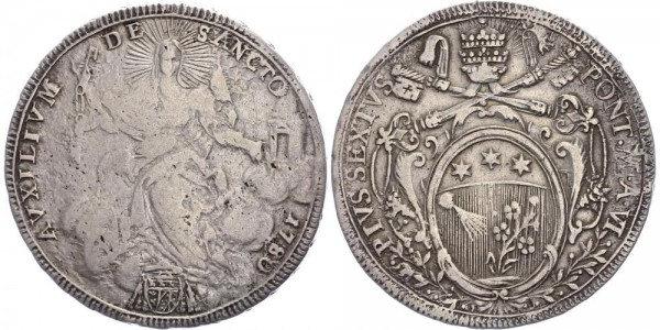 Vatikan Scudo 1780 - Pius VI., 1774-1799
