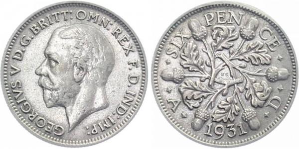 Großbritannien 6 Pence 1931 - Georg V.