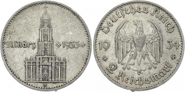 Drittes Reich 2 Mark 1934 G Garnisonskirche m. Datum