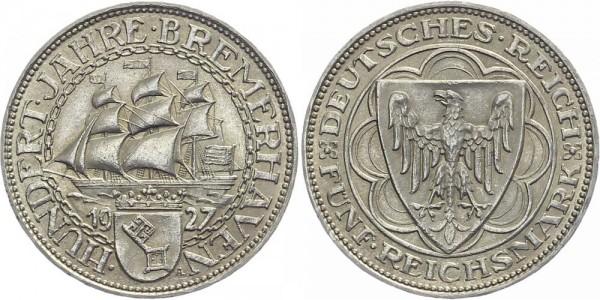 Weimarer Republik 5 Mark 1927 A Bremerhaven