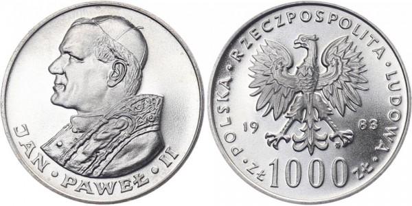 Polen 1000 Zlotych 1983 - Besuch von Papst Johannes Paul II.