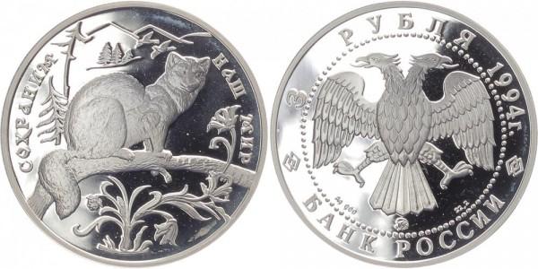 Russland 3 Rubel 1994 - Zobel