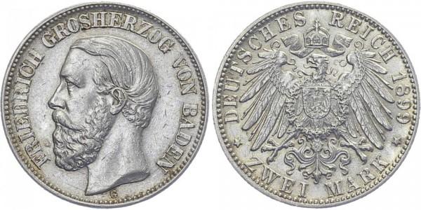 BADEN 2 Mark 1899 G Friedrich I.