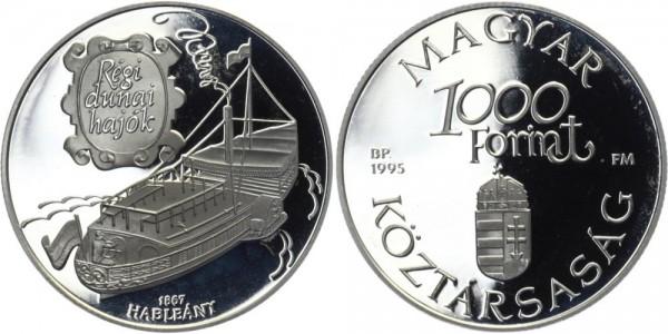 "UNGARN 1000 Forint 1995 - Donau-Schiff ""Hableany"""