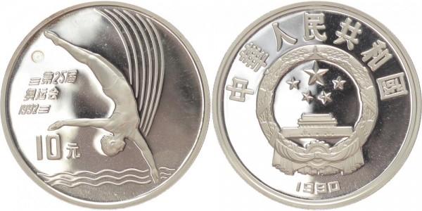 China 10 Yuan 1990 - Turmspringerin