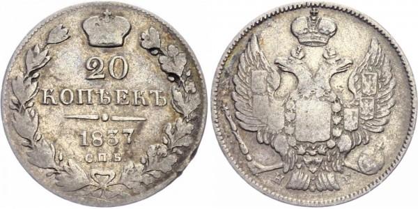 Russland 20 Kopeken 1837 - Nikolaus I., 1825-1855