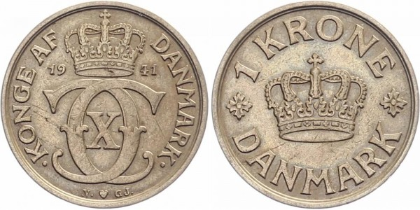 Dänemark 1 Krone 1939/41 - Kursmünze