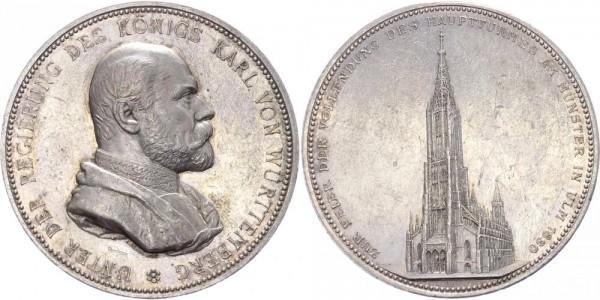 Württemberg Medaille 1890 - Karl von Württemberg (1864-1891), Fertigstellung des Hauptturmes vom Ulm