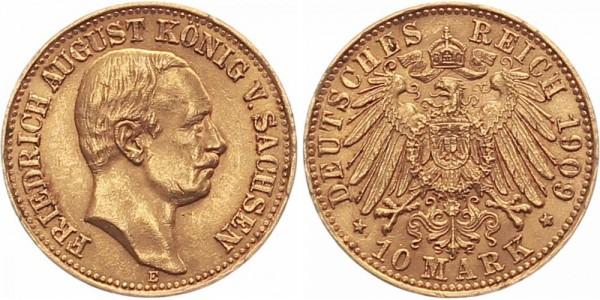 Sachsen 10 Mark 1909 E Friedrich August