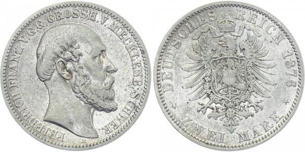 MECKLENBURG-SCHWERIN 2 Mark 1876 A Friedrich Franz II.