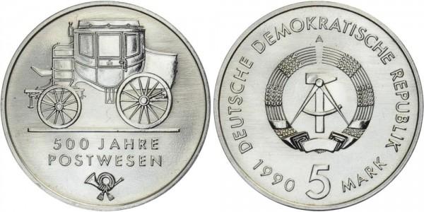 DDR 5 Mark 1990 A 500 Jahre Postwesen