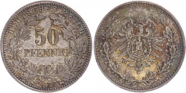 Kaiserreich 50 Pfennig 1877 H Kursmünze