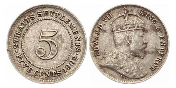Straits Settlements 5 Cents 1902 - Edward VII.