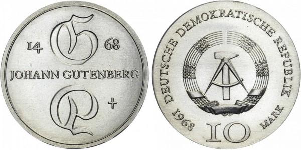 DDR 10 Mark 1968 A Gutenberg