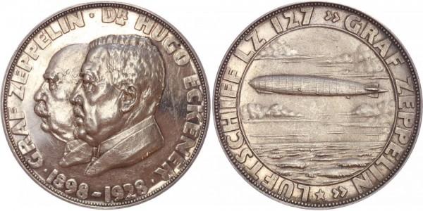 Weimarer Republik Medaille 1928 Graf Zeppelin, Weltfahrt