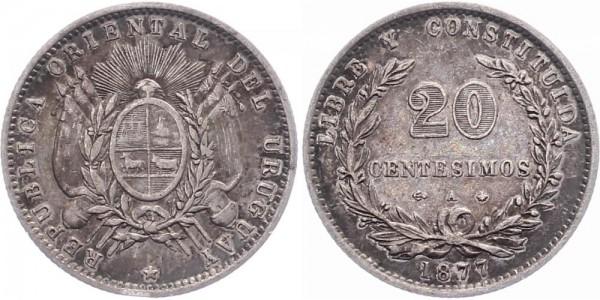 Uruguay 20 Centesimos 1877 - Kursmünze