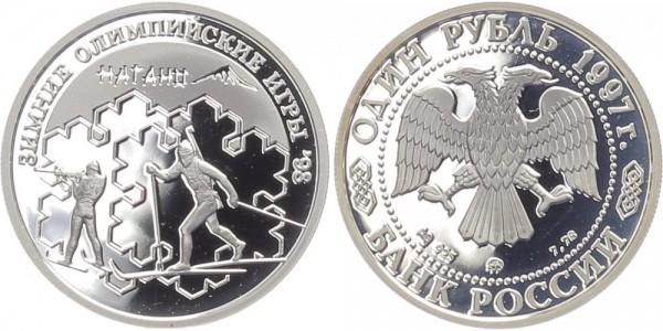 Russland 1 Rubel 1997 - Biathlon