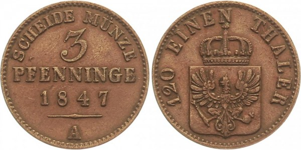 Preussen 3 Pfennige 1847