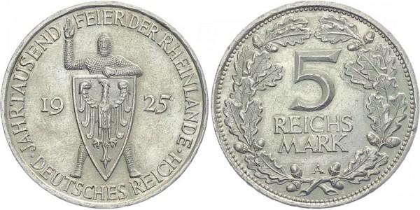Weimarer Republik 5 Mark 1925 A Rheinlande