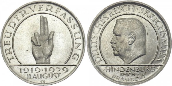 Weimarer Republik 3 Mark 1929 G Schwurhand