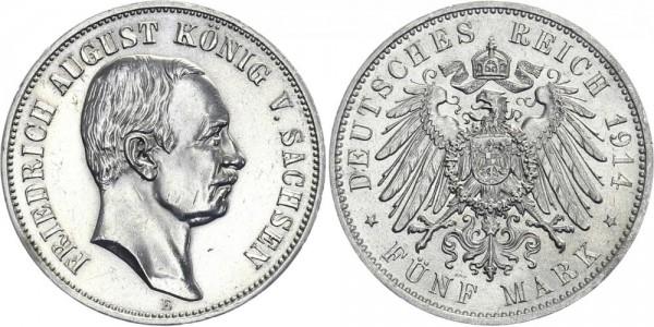 SACHSEN 5 Mark 1914 E Friedrich August III.