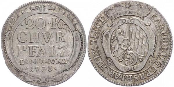 Pfalz 20 Kreuzer 1733 Karl Philipp, 1716 - 1742