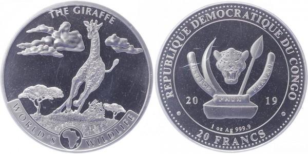 Kongo 20 Francs 2019 - Giraffe