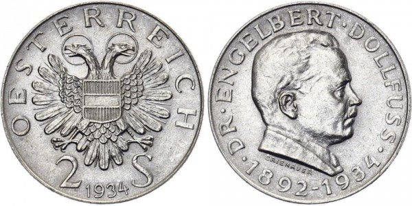 Österreich 2 Schilling 1934 - Dollfuss