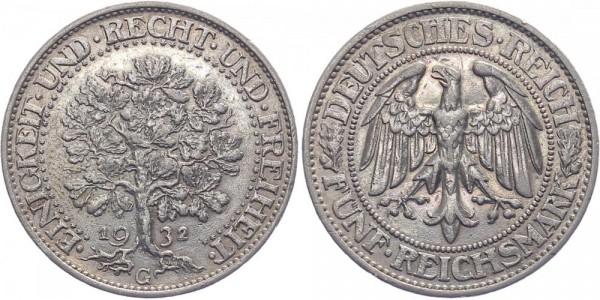 Weimarer Republik 5 Reichsmark 1932 G Eichbaum