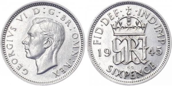 Großbritannien 6 Pence 1945 - Georg VI.