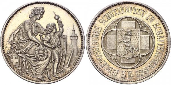 Schweiz 5 Franken/Schützentaler 1865 - Schützenfest in Schaffhausen