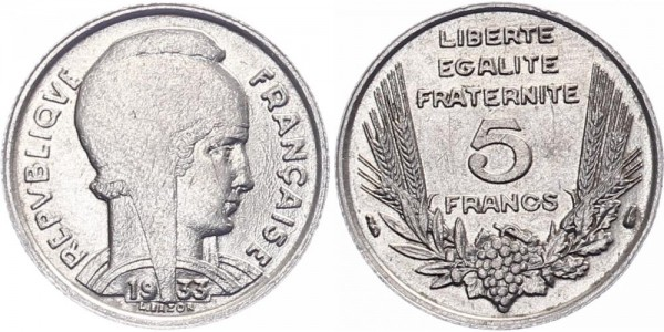 Frankreich 5 Francs 1933 - Kursmünze
