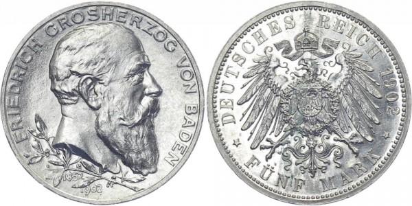 BADEN 5 Mark 1902 G Friedrich I. Jubiläum