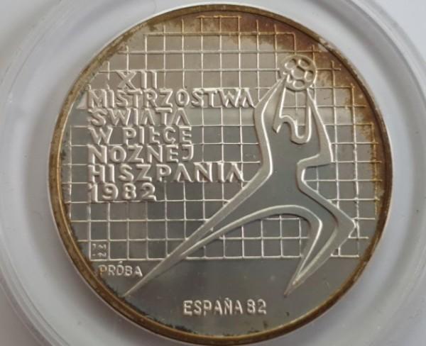Polen 200 Zloty 1982 Fußballweltmeisterschaft in Spanien, Torwart nach rechts, PROBE, PP
