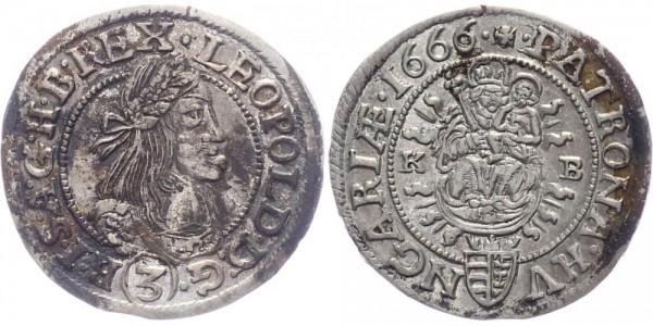 RDR, Habsburg 3 Kreuzer 1666 KB (Kremnitz) Leopold I. 1657-1705