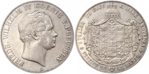 Preussen Doppeltaler 1843 - Friedrich Wilhelm IV.