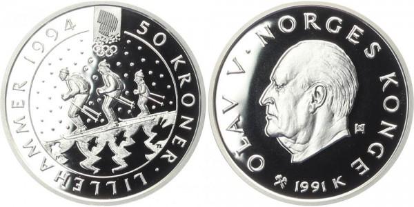 Norwegen 50 Kroner 1991 - Olav V, Familie der Skifahrer im Kreis