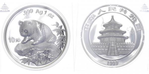 China 10 Yuan 1999 (enge Variante) - Panda, 1 Unze Silber