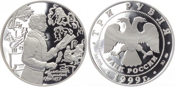 Russland 3 Rubel 1999 - Puskin beim lesen