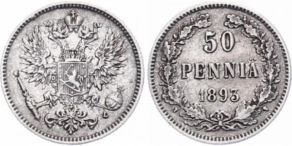 Finnland 50 Penniä 1893 - Kursmünze