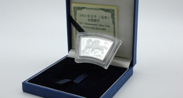 China 10 Yuan 2002 - Lunar Kalender Jahr des Pferdes Fechermünze