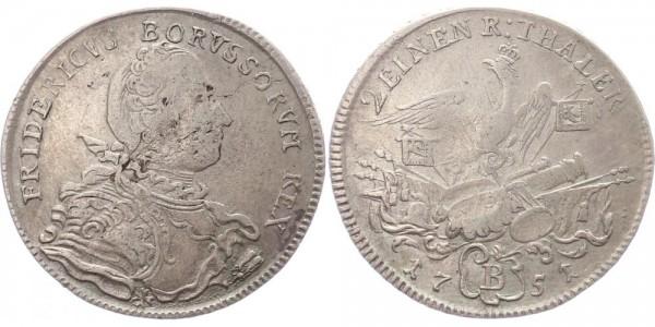 Brandenburg-Preussen 1/2 Taler 1751 B (Breslau) Friedrich II.