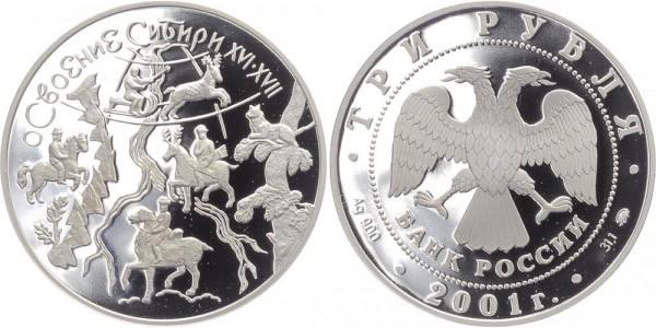 Russland 3 Rubel 2001 - Sibirien Expedition