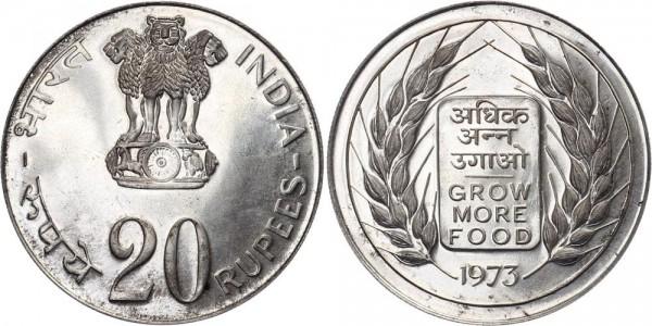 Indien 20 Rupien 1973 Mumbai FAO: Republik
