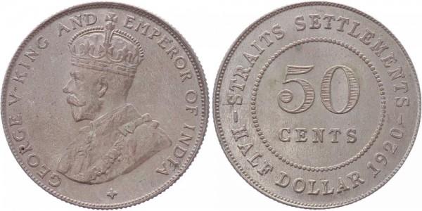 Straits Settlements 50 Cents 1920 - George V.