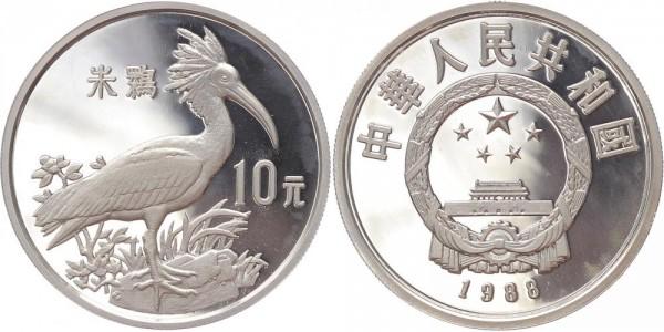 China 10 Yuan 1988 - Bedrohte Tierwelt Kranich