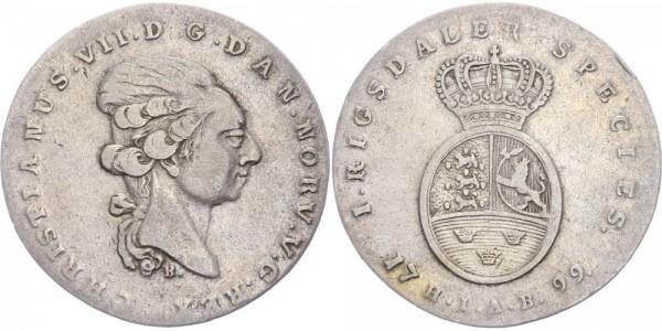Dänemark Rigsdaler (Species) 1799 HIAB, Kopenhagen Christian VII., 1766-1808